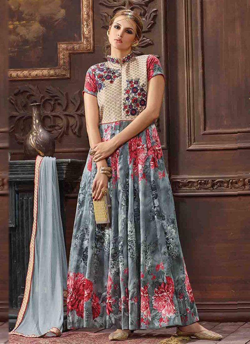 Perfervid multi colour anarkali salwar kameez multi colour