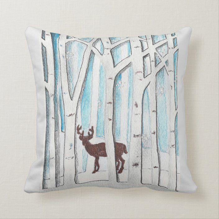 Winter Deer design on Throw Pillow