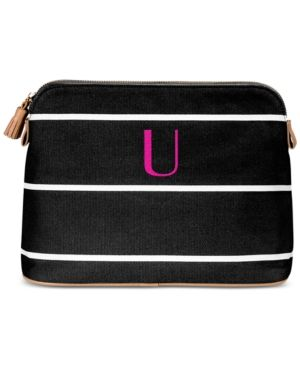Cathy's Concepts Personalized Black Striped Cosmetic Bag - Black