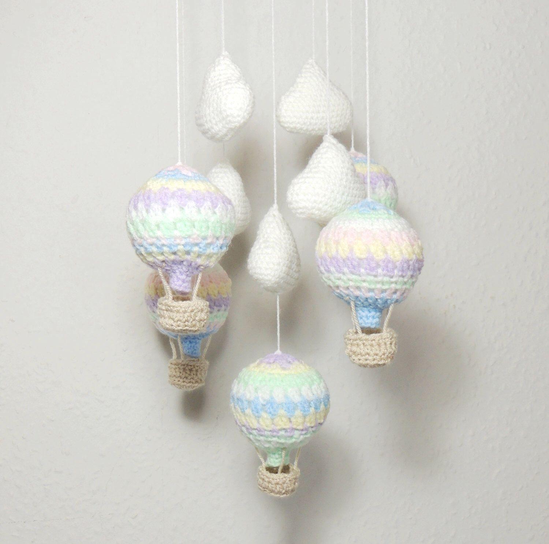 Hot Air Balloon Mobile Clouds Crochet Nursery Mobile