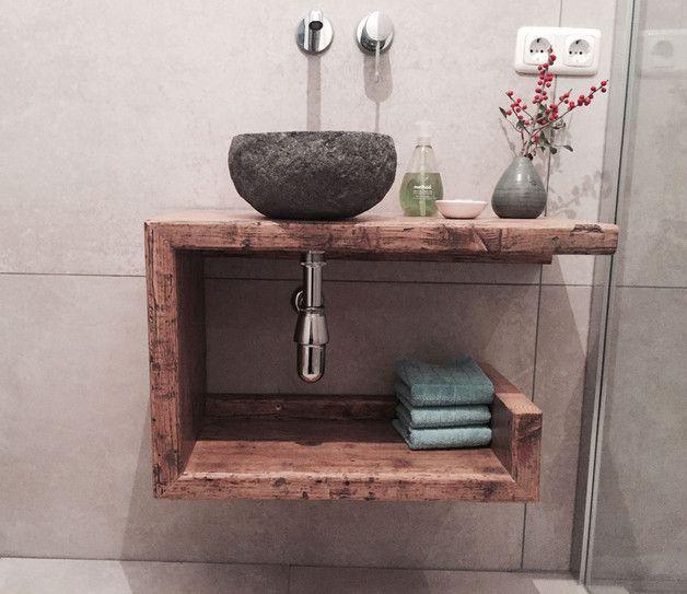 Waschtisch Gäste-WC Waschbeckenschrank Holz Diy design - badezimmermöbel aus holz