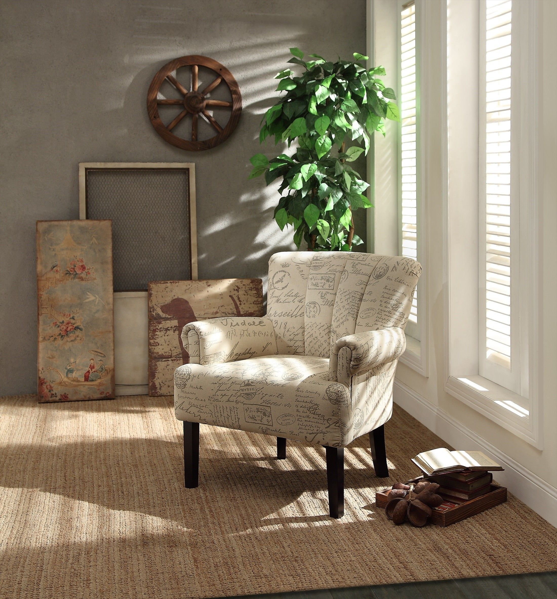 Printed Chairs Living Room Arrow Furniture Transitional Fan Back Printed Accent Chair
