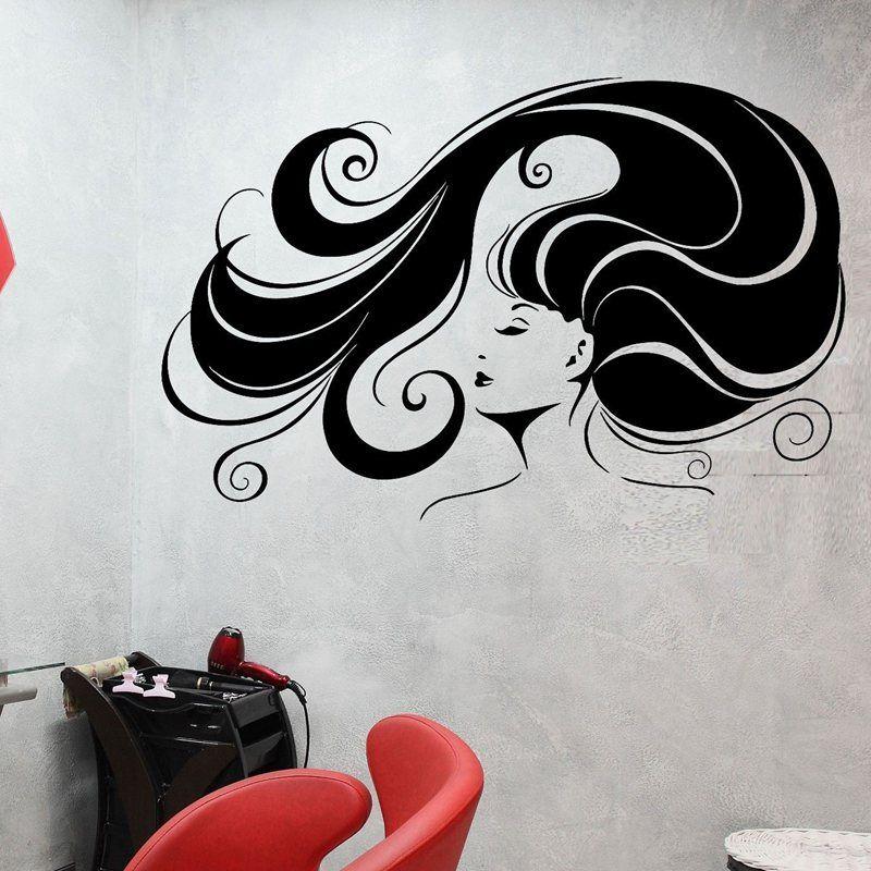 Adesivo De Parede Com Led ~ Cabeleireiro Sal u00e3o de Beleza Do Cabelo cabelo Adesivo de