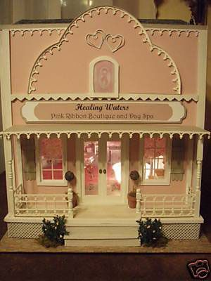 Exterior front of the dollhouse scale Healing Waters Pink Boutique and Day Spa - Photo Courtesy Erin Conner-DeSilvey, Copyright 2008, Used With Permission