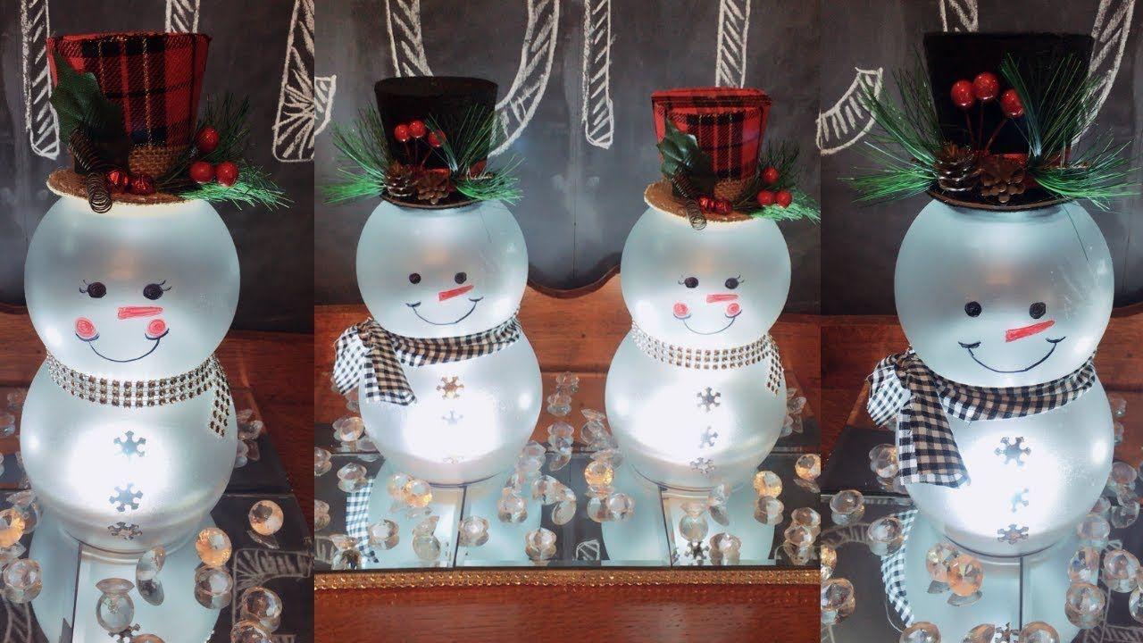 Dollar Tree Diy Lighted Mr Mrs Snowmen Christmas Home