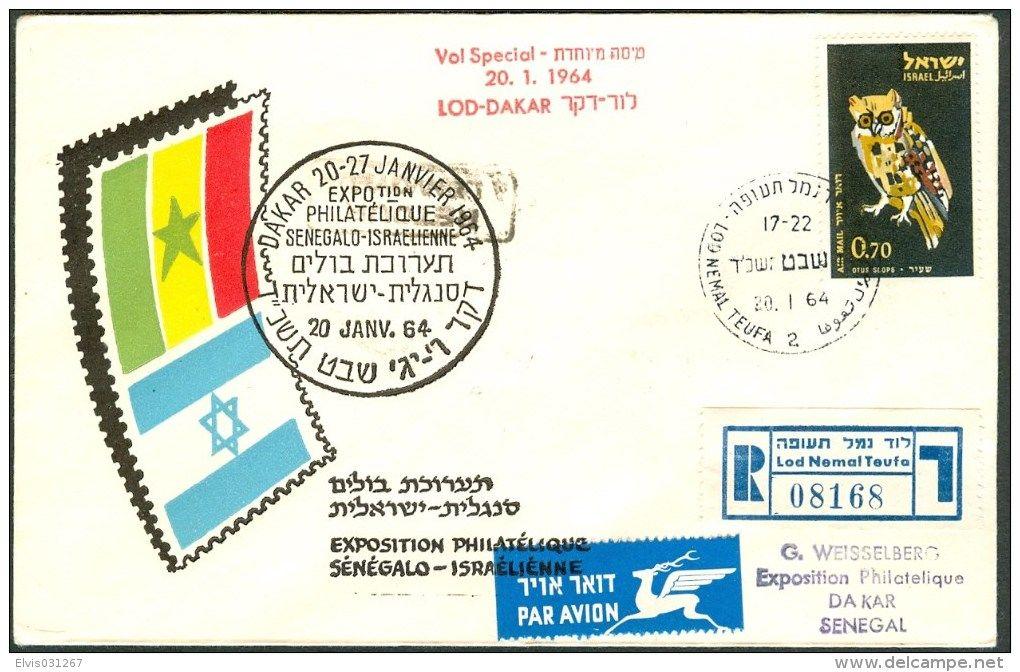 Israel FDC FLIGHT EVENTS - 1964 VOL SPECIAL LOD-DAKAR, Expo Philatelique *** - Mint Condition -
