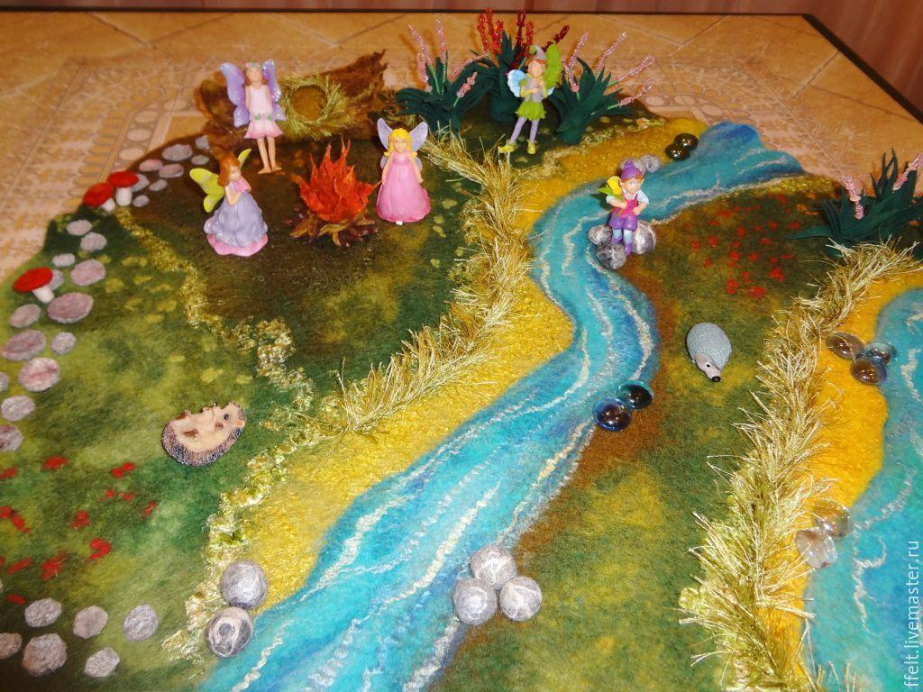 Купить Игровой коврик-полянка - коврик-полянка, полянка, игрововй коврик, вальдорфская игрушка, вальдорф