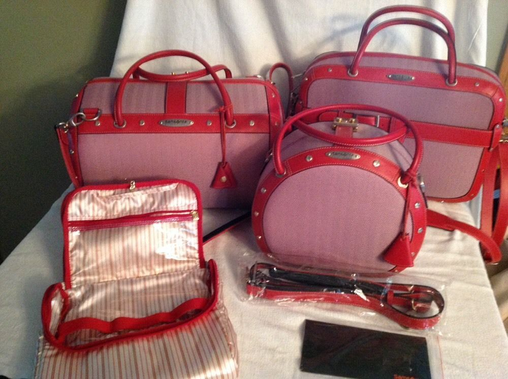 Samsonite vintage black label 3 piece luggage set pink w/ red trim ...
