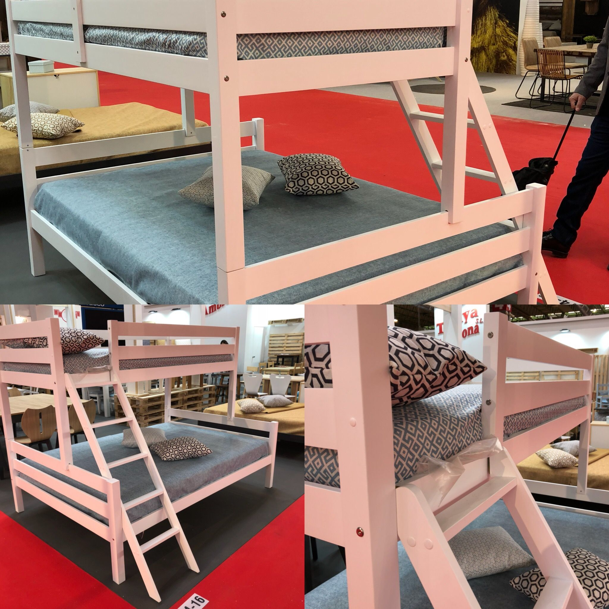 Litera cama matrimonio e individual madera maciza lavada - Literas lacadas en blanco ...