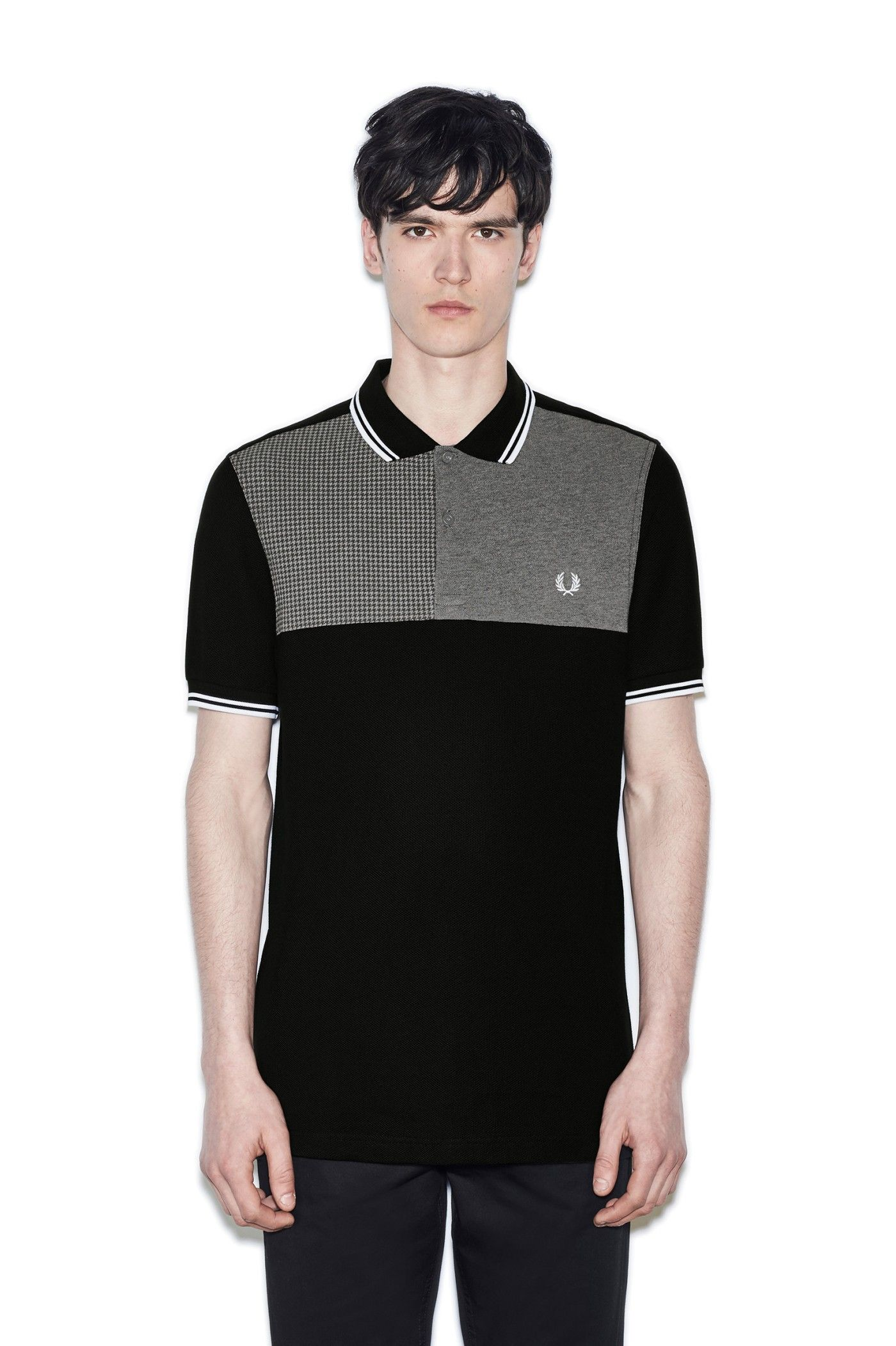 Fred Perry - Houndstooth Panel Pique Shirt Black