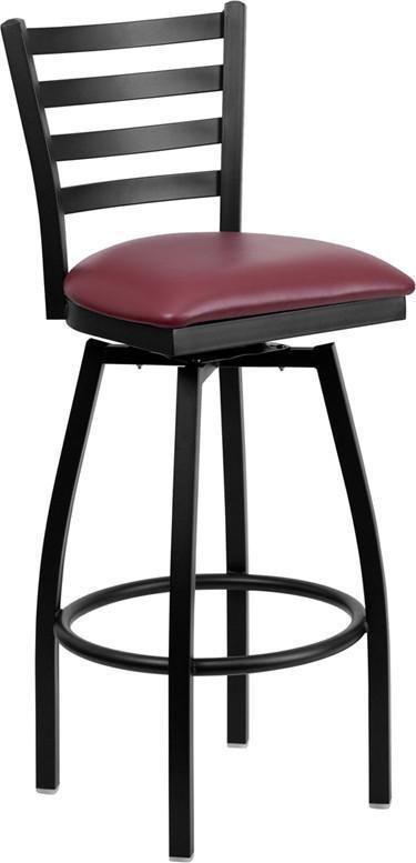 Flash Furniture Hercules Series Ladder Back Swivel Wood Seat Metal Barstool,  Black/Natural