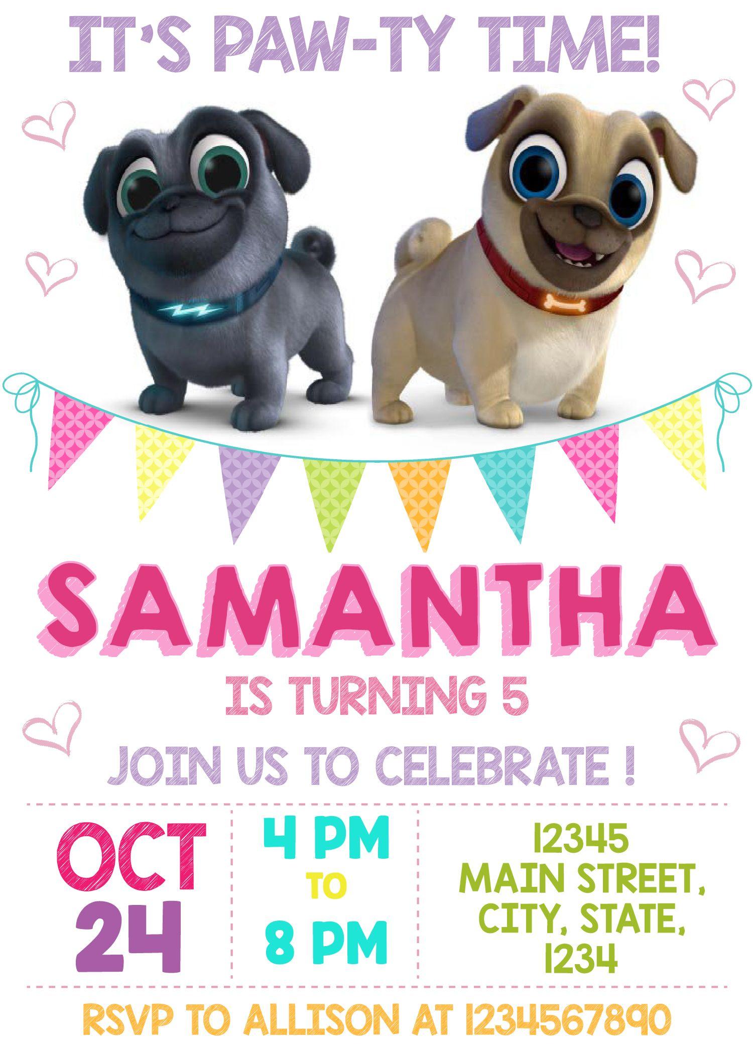 Puppy Dog Pals Printed Invitation Puppy Dog Pals Invite Puppy Dog Pals Puppy Dog Pals Puppy Dog Pal Puppy Dog Pals Puppy Birthday Parties Puppy Birthday