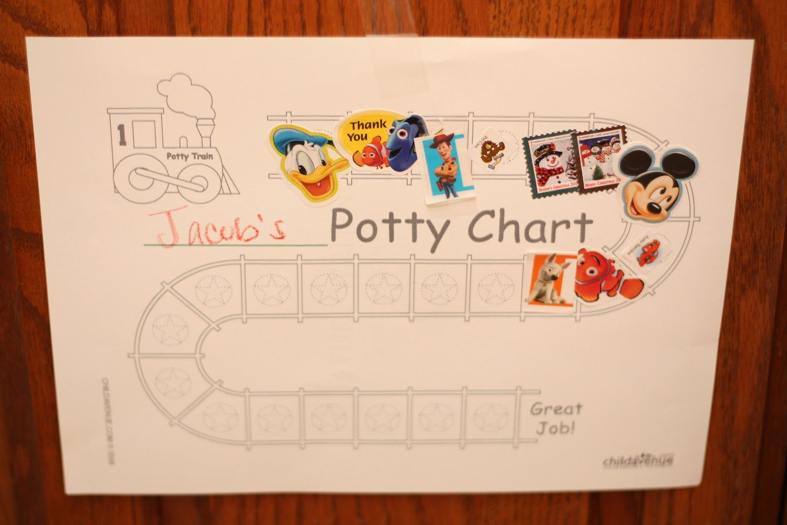 potty train chart idea, reward at end of track