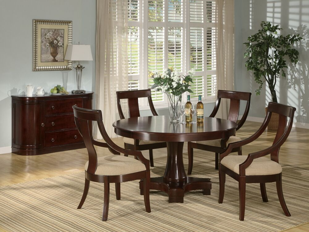 5 Pc Cresta Collection Round Pedestal Warm Cherry Wood Finish Dining Table Set