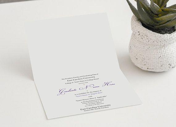 formal graduation card graduation announcement foldover