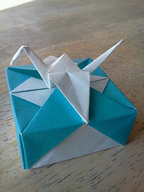 Origami Box With Crane Box Folded From 6 Square Crane Folded From
