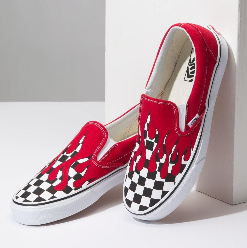 Vans Checker Flame Slip On Shoes With Images Custom Vans Shoes