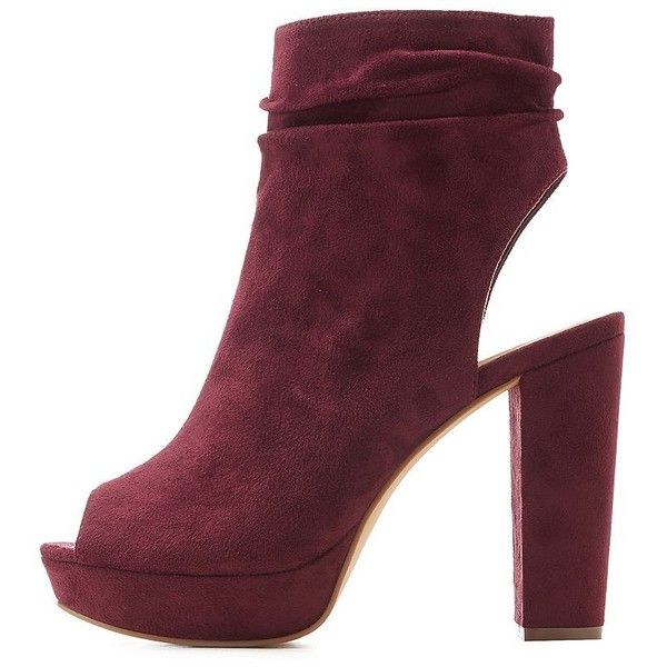 612b7ec91a2 Charlotte Russe Ruched Peep Toe Platform Booties ($20) ❤ liked on ...