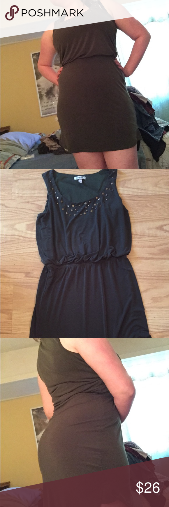 Emerald Mini Dress Medium sized Corey P green dress with bead detail at the collar very comfortable synchs in at natural waist. Feel free to give an offer! Macy's Dresses Mini