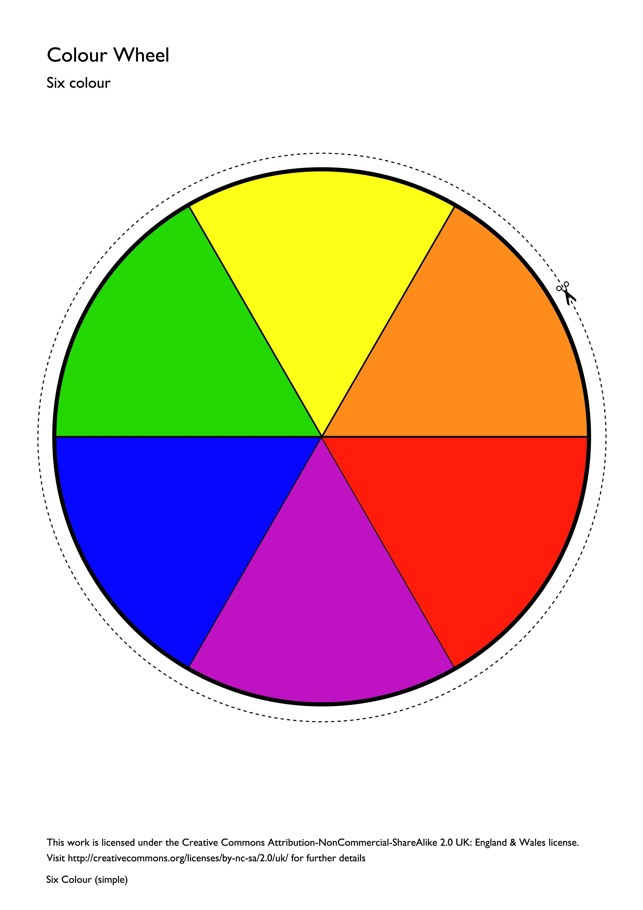 A Filled In Six Colour Colour Wheel