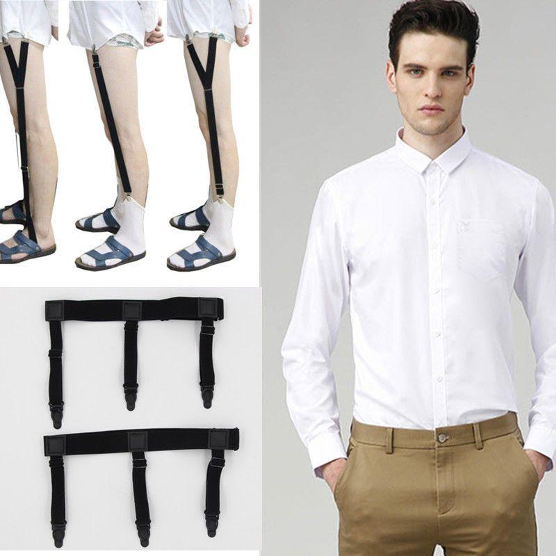 1 Pair Men Shirt Stays Elastic Belt Leg Garter Suspender Non