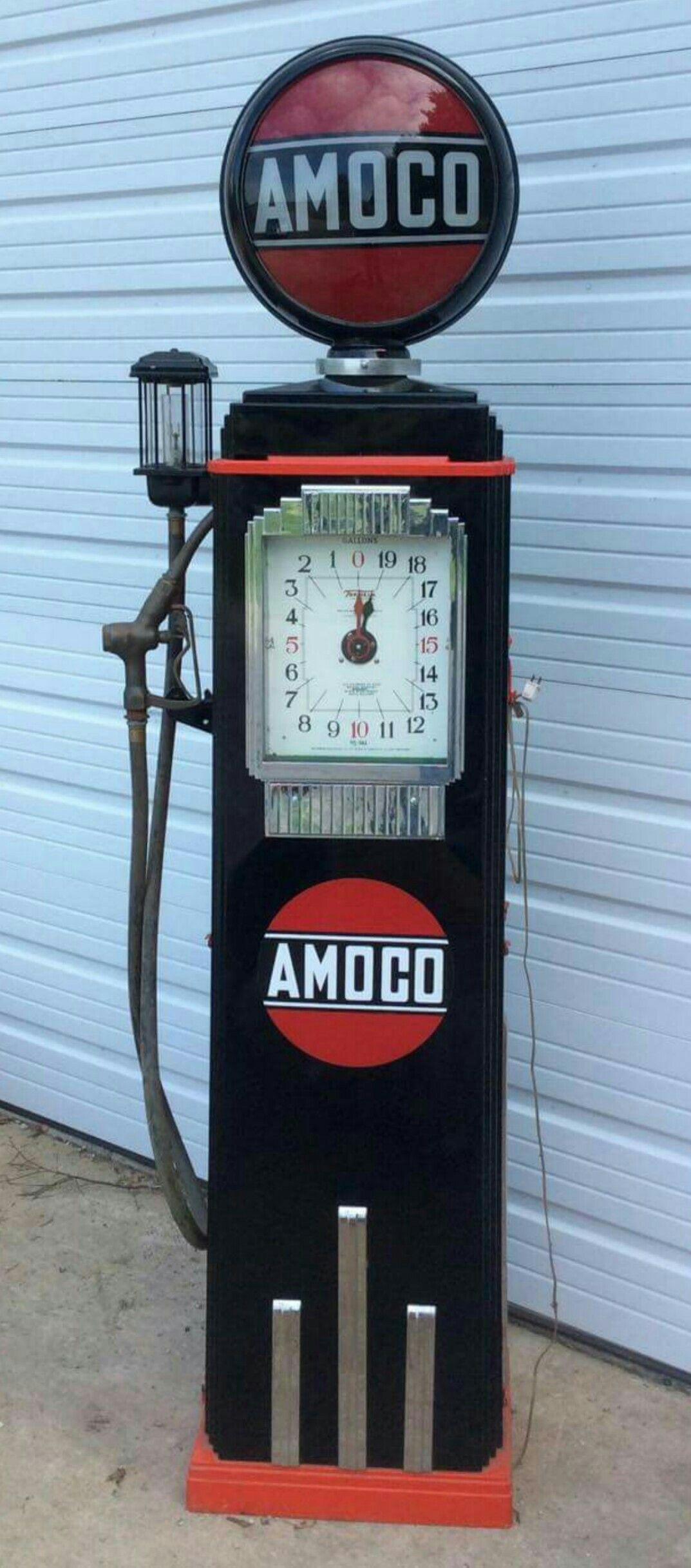 Restored Original Amoco Clock Faced Gas Pump   Gas Globes