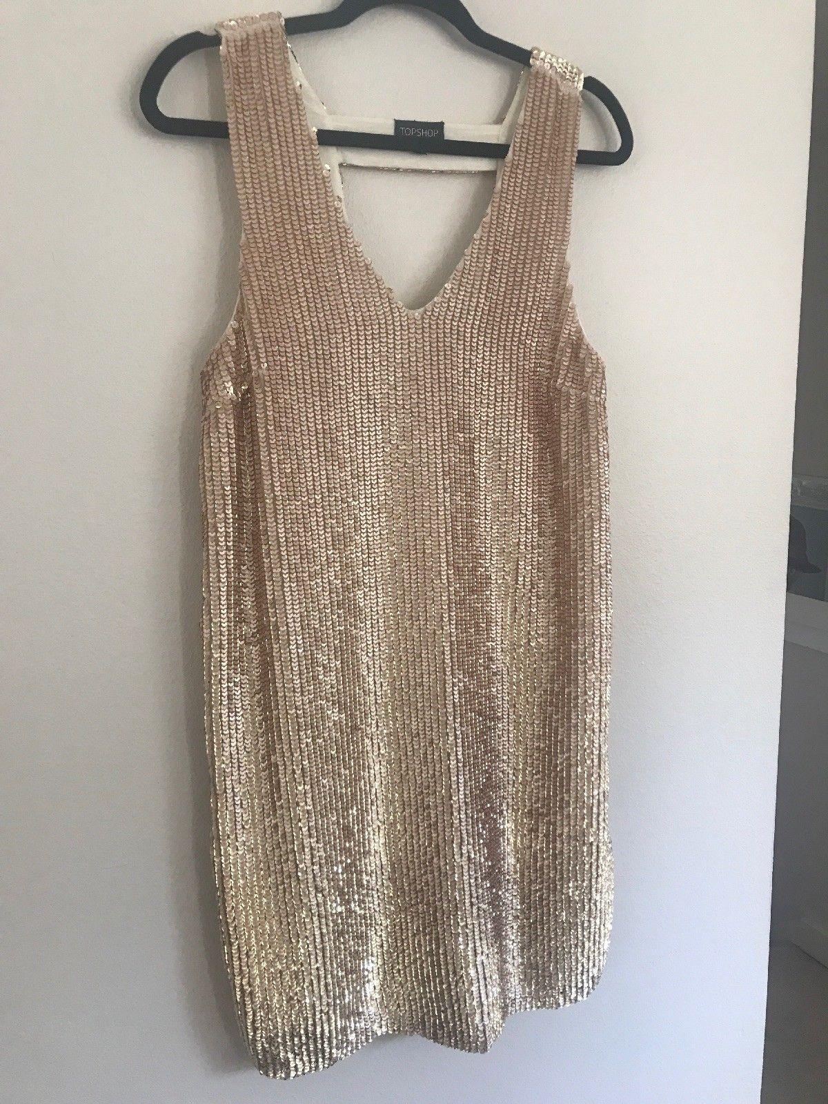 Topshop blush rose gold sequin dress size sheath vneck front