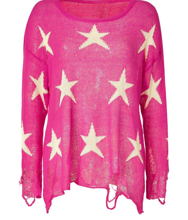Wildfox Magenta Destroyed Boxy Sweater