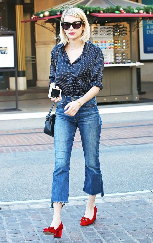 c6a79a59764f Emma Roberts s cropped flares are dressed up with red loafer pumps.