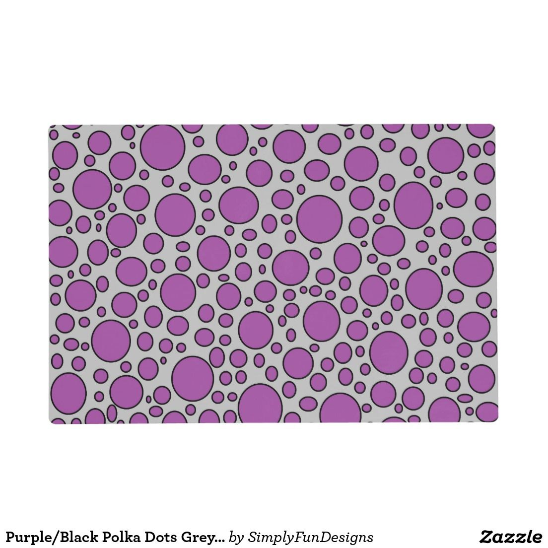 Purple/Black Polka Dots Grey Laminated Placemat