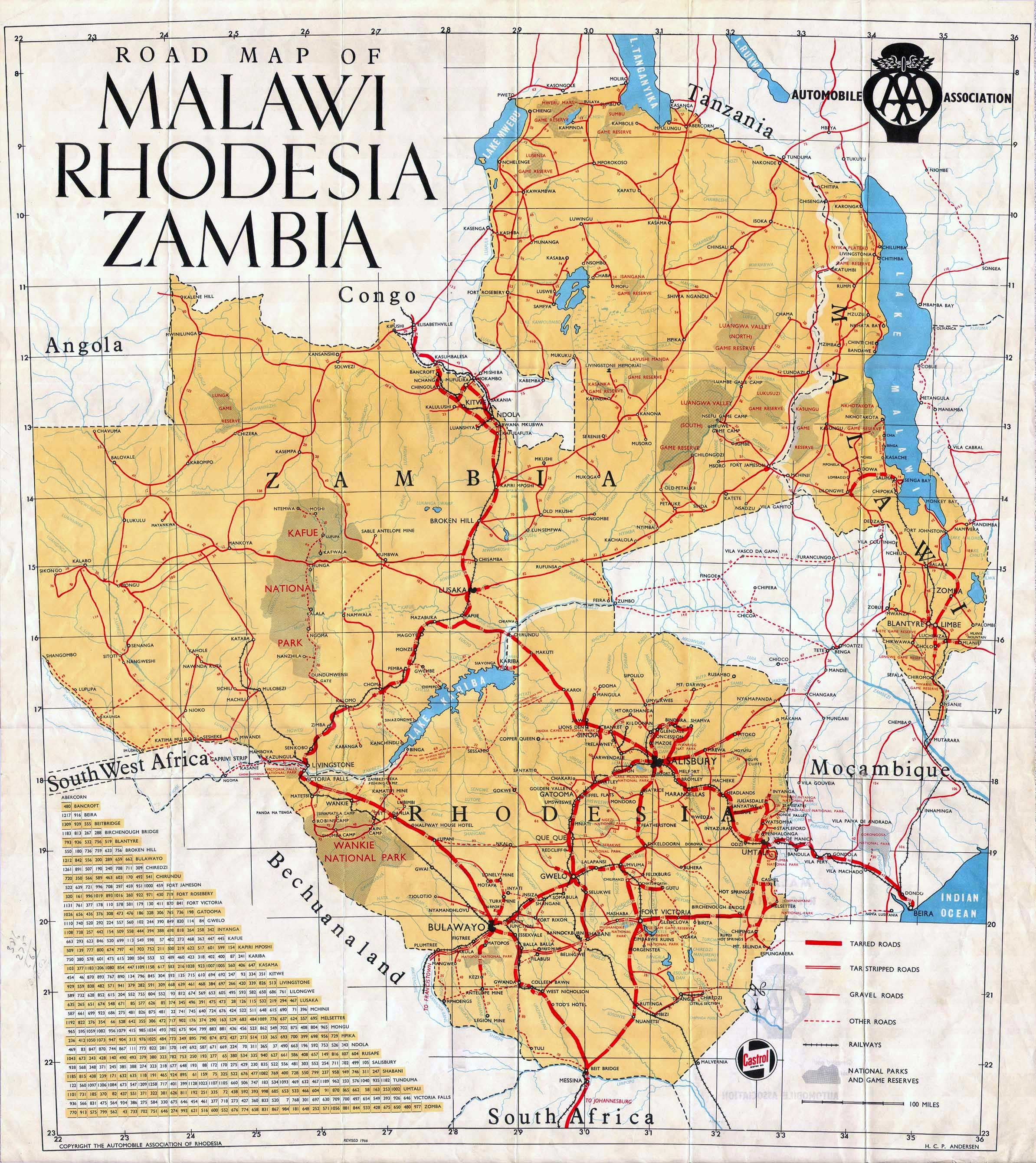 Road Map Of South Africa And Zambia Malawi Rhodesia and Zambia Road Map   Malawi Africa | Malawi