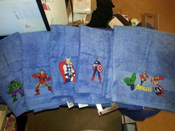 Avengers 1 Large Embroidered Bath Towel Inspired By Marvel