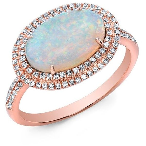 14KT Rose Gold Double Halo Opal Diamond Cocktail Ring 1630