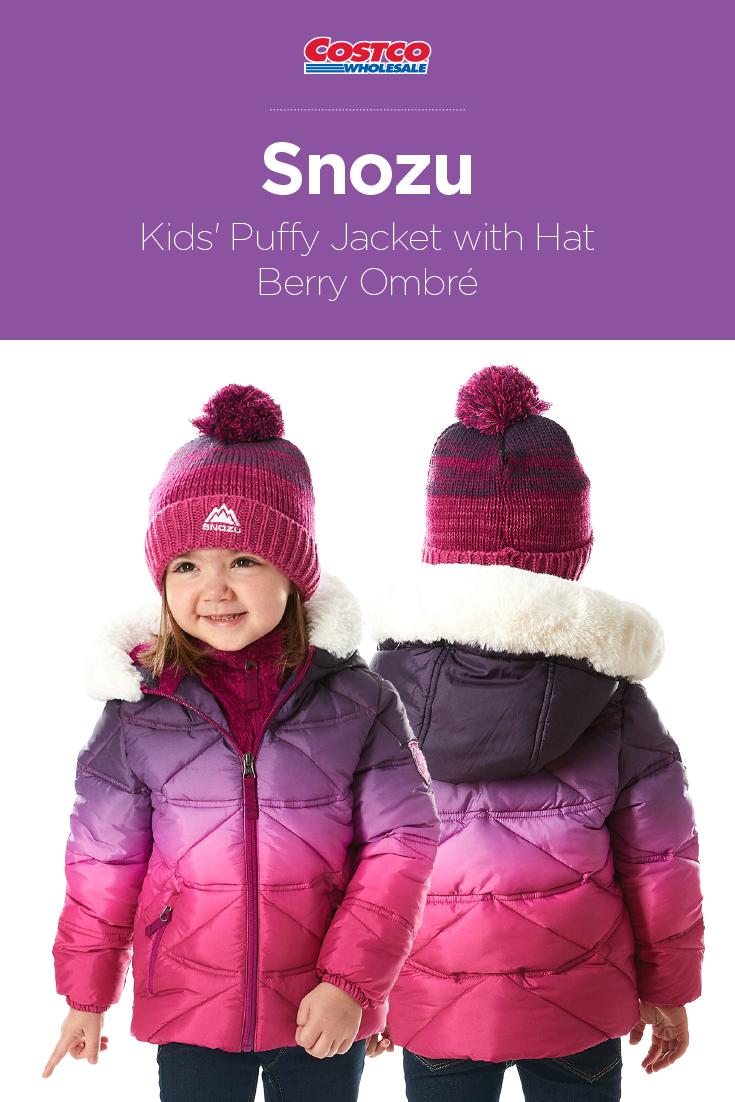 a0c1fec5f Snozu Kids' Puffy Jacket with Hat, Berry Ombré | Costco Fashion ...