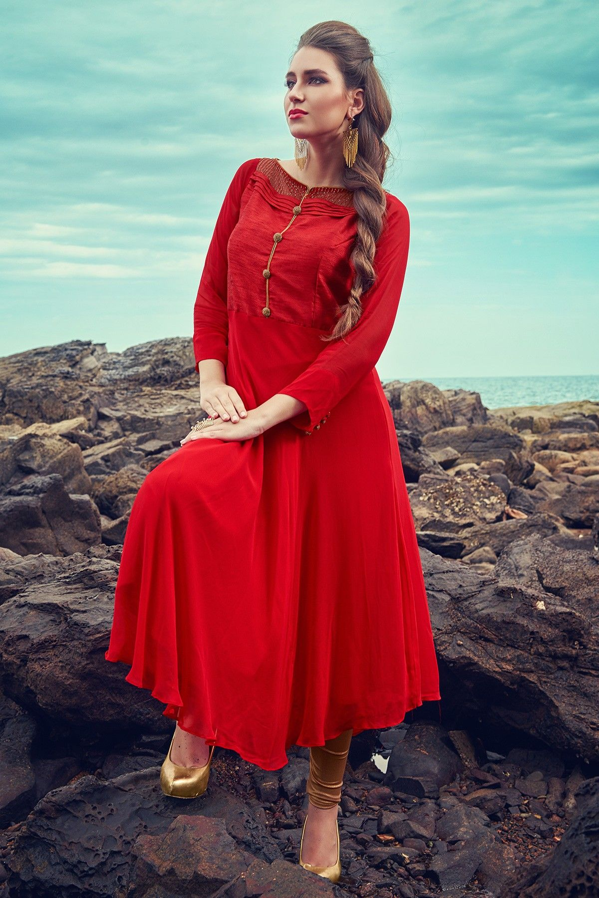 e7c3361dcdcd Red classy umbrella cut georgette kurti with Boat neck-WKR368 - Salwars
