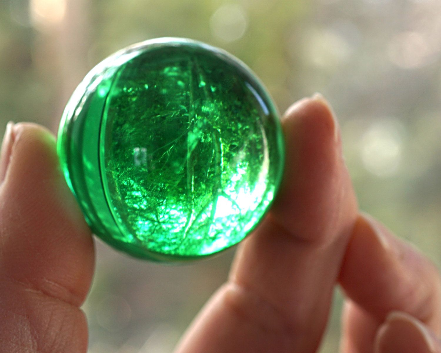 Green Magic Crystal Ball Large Marble Huge Glass 39mm 1 2 Big Vintage Colorful Sphere Collectors Stand By AtVintage On