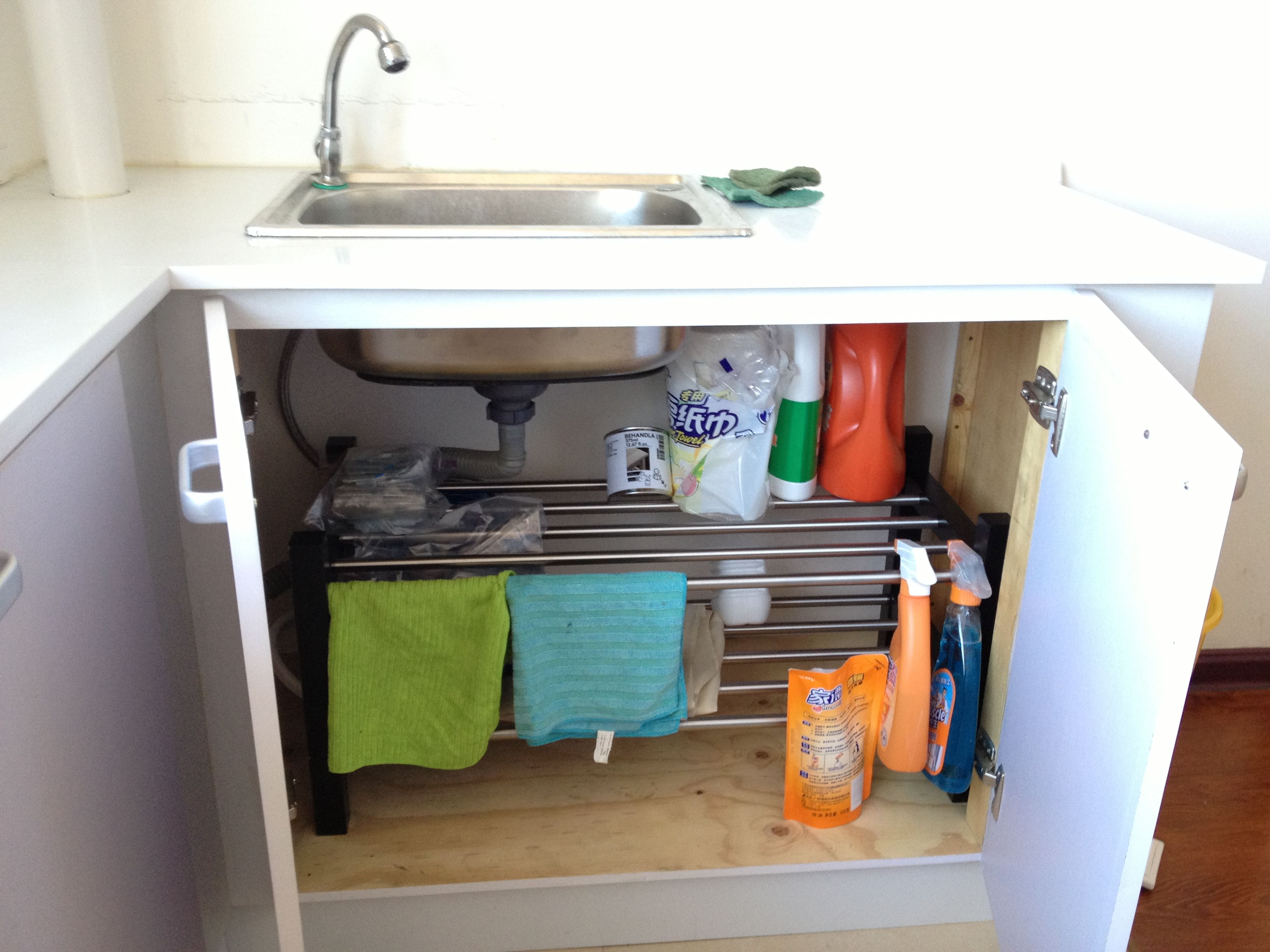 Shoe rack from ikea under our kitchen sink to organize our cleaning shoe rack from ikea under our kitchen sink to organize our cleaning supplies workwithnaturefo