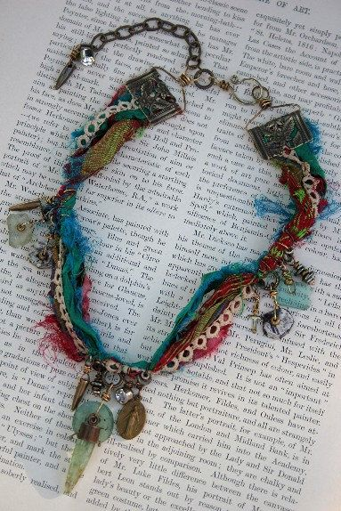 Boho chic sari silk prayer flag handmade necklace by mocknet