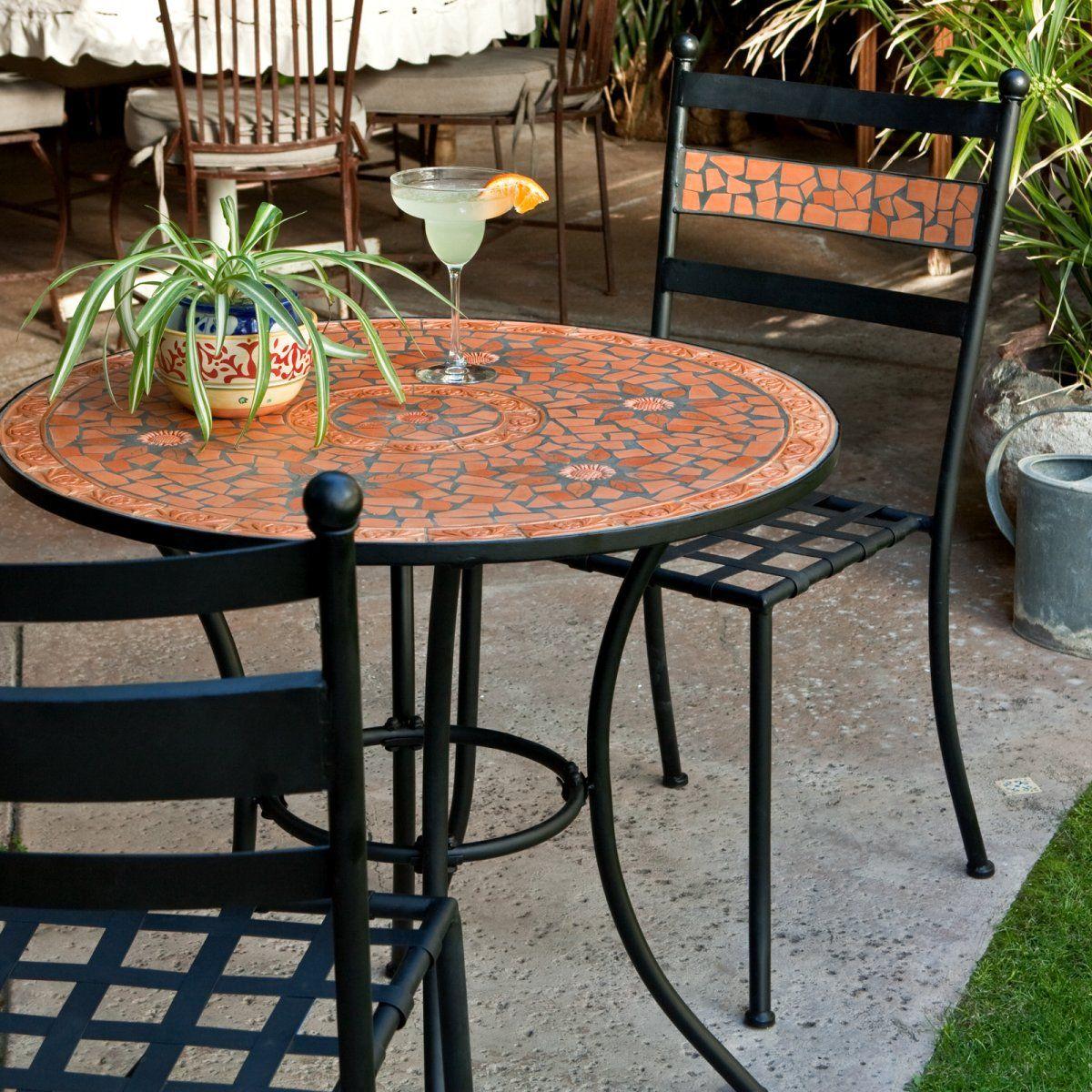 Coral Coast Terra Cotta Mosaic Bistro Set - Outdoor Bistro Sets at ...