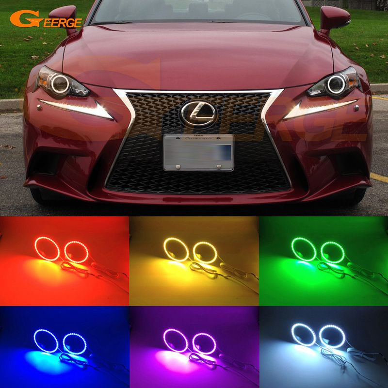 For Lexus Is350 Is250 Isf 2014 2015 Hid Headlight Excellent Multi Color Ultra Bright 7 Colors Rgb Led Angel Eyes Kit Halo Rin Car Lights Led Angel Eyes Toy Car