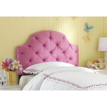 Pink Ellie Tufted Full Headboard This Eye Catching Micro Suede Features A Beautiful Arch And Deep Hand Pulled Tufts