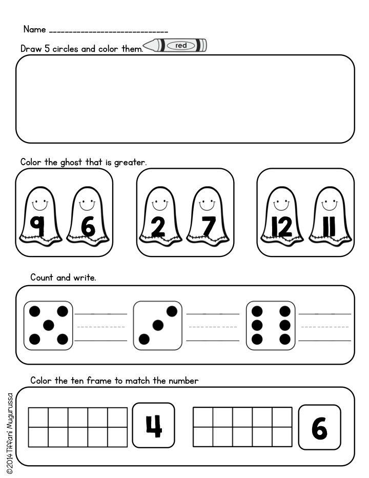 October Kindergarten Homework | Kind