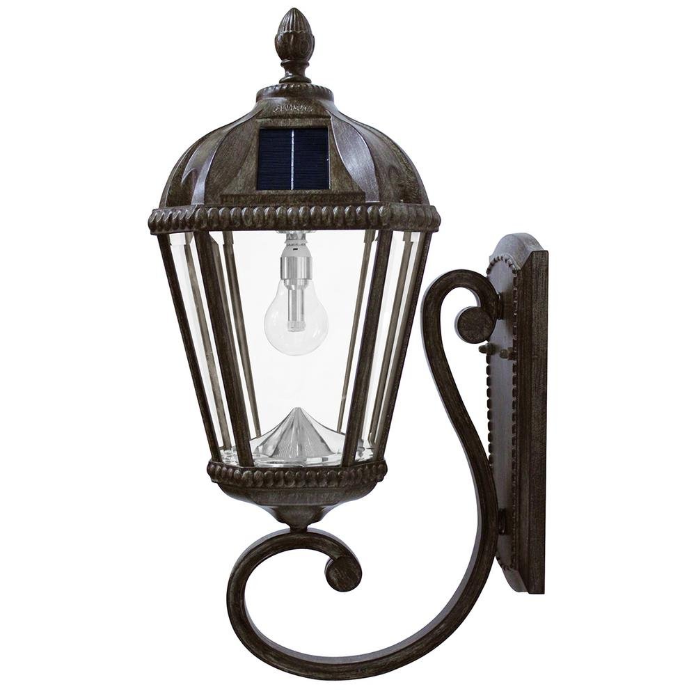 Gama Sonic Royal Bulb Series 1 Light Weathered Bronze Outdoor Integrated Led Solar Wall Lantern Sconce Gs 98b W Wb The Home Depot Solar Led Lights Solar Light Bulb Wall Mounted Lamps