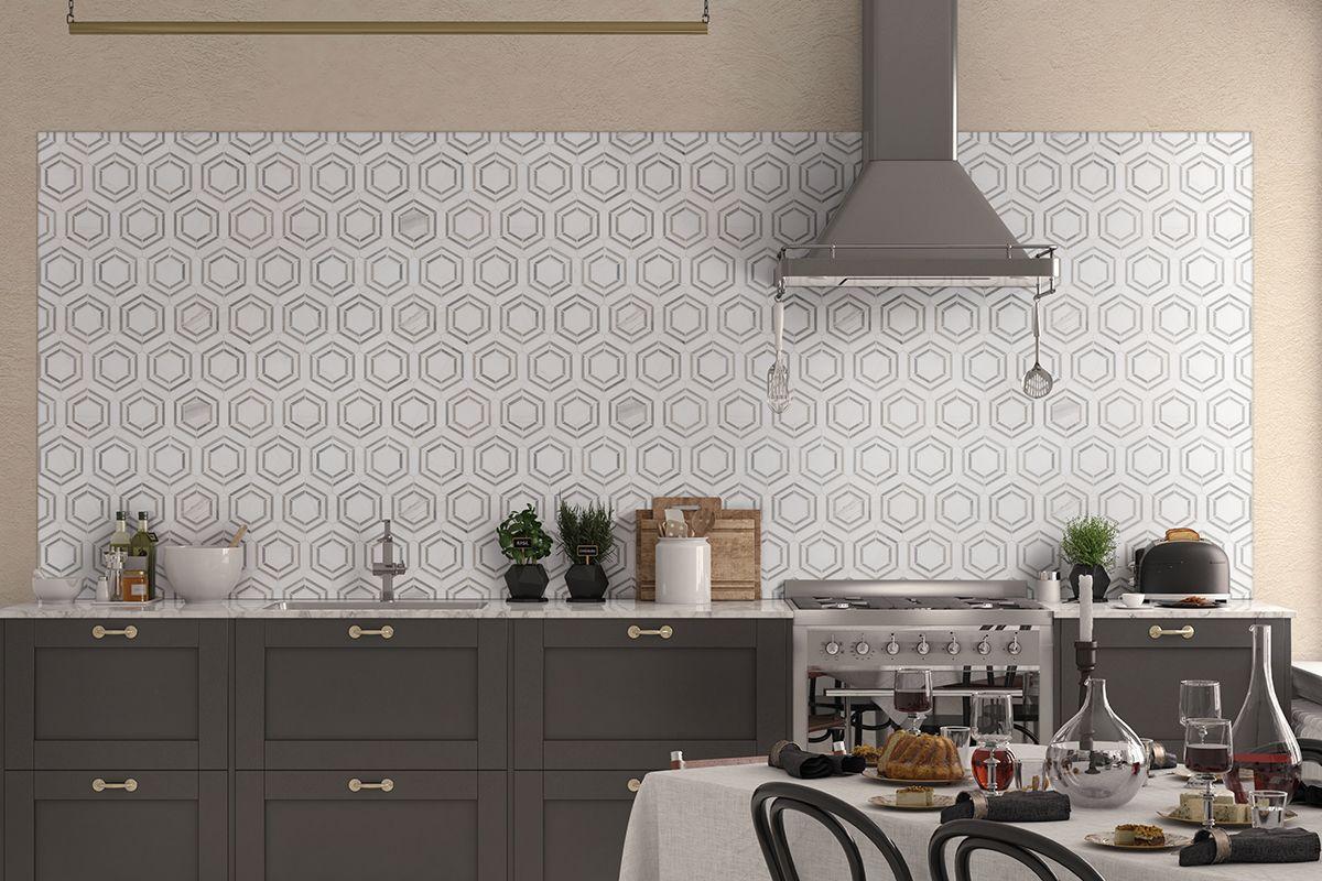 Georama Grigio Polished Patterned Wall Tiles Geometric Tile