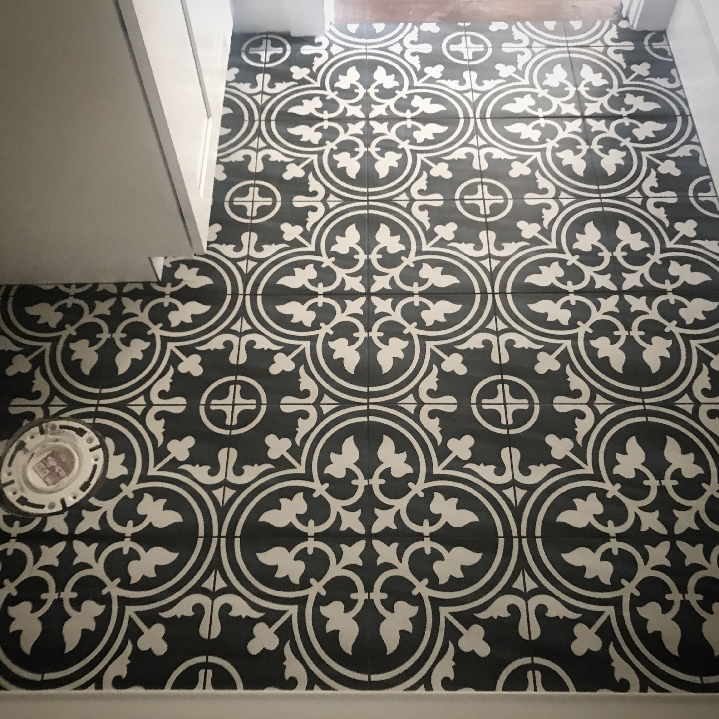 Black And White Patterned Tile With Black Grout From Joss And Main Similar Tile Found At Hom White Bathroom Tiles White Bathroom Designs Black And White Tiles