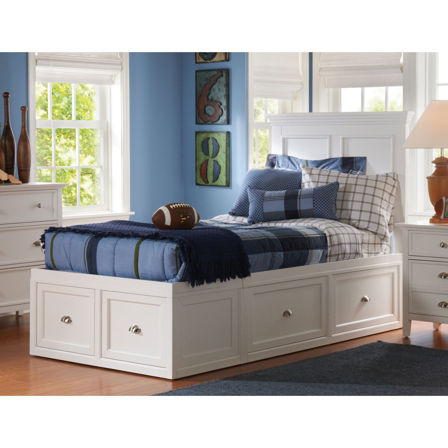 494d7c4e79e3 From The Abbott Collection. Contemporary style bedroom group. Made in a  White finish. Also stocked in a Cherry finish