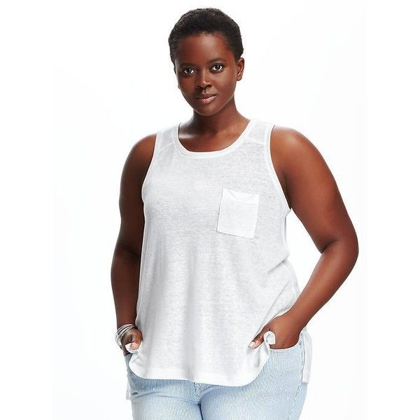 5b22fe93e81 Old Navy Boyfriend Plus Size High Neck Tank ( 15) ❤ liked on Polyvore  featuring tops