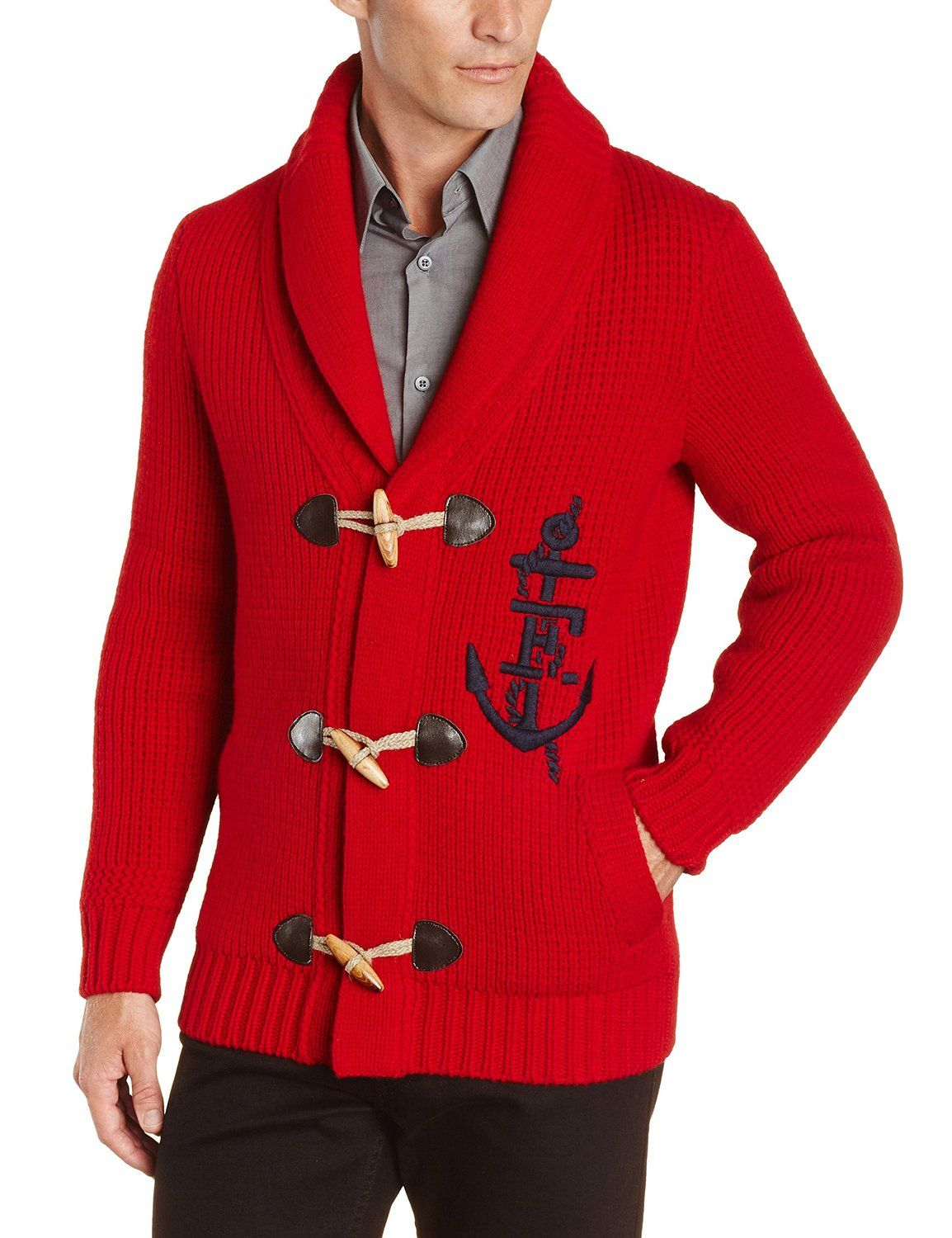 Amazon.com: Faconnable Men's Super Fine Lambs Wool Cardigan, Red ...
