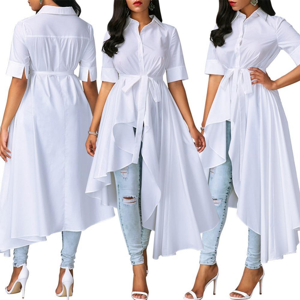 8d0d4de151f Shop Women Short Sleeve Turn Down Collar Hi Low Shirt Dress Casual White  Plus Size Bandage