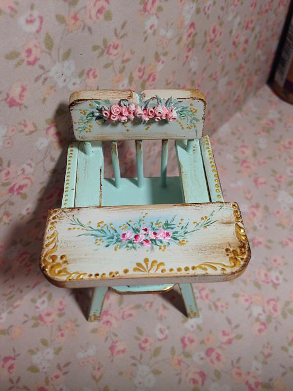 Chair baby 1/12. Hand painted furnitures. Dollhouse furniture ...